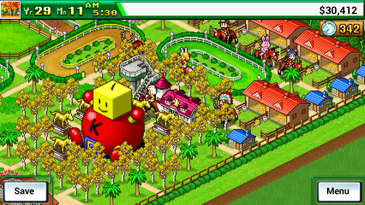 Pocket Stables Kairosoft: Kairodome vista rancho