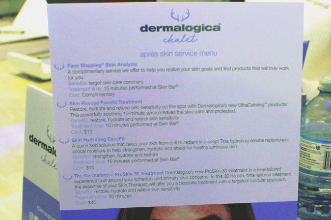 Services offered at the Dermalogica Chalet