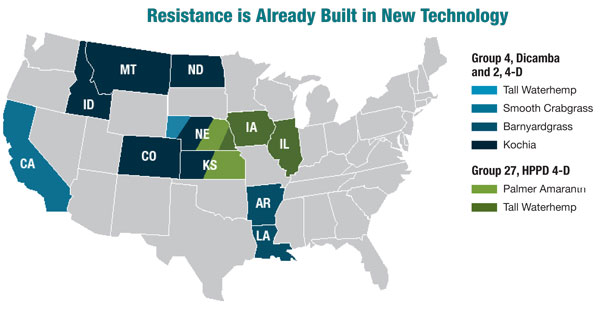 Regions with weed species resistant to dicamba and 2,4 D
