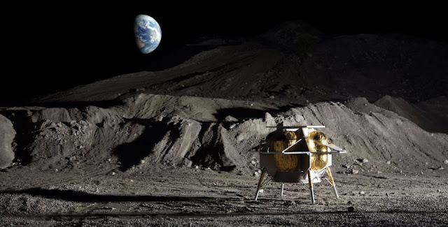 Artist's illustration of Astrobotic's Peregrine lunar lander on the surface of the moon.(Image: © Astrobotic)