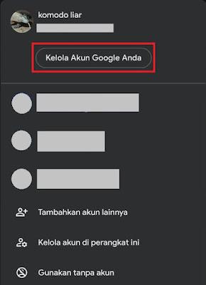 Kelola profil google untuk dihapus