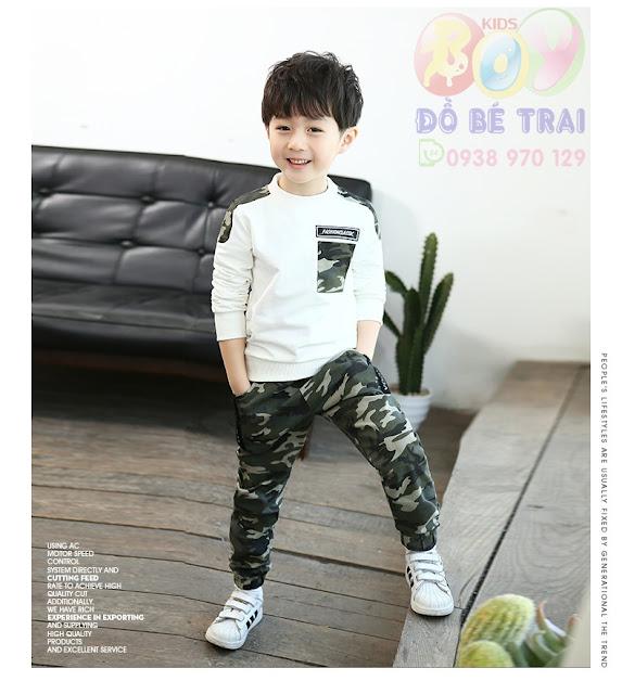 Sét bộ áo len + quần ngụy trang cho bé trai