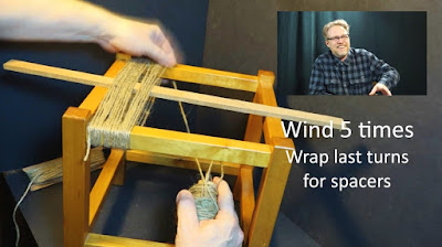 Weaving the warp for a footstool out of twine