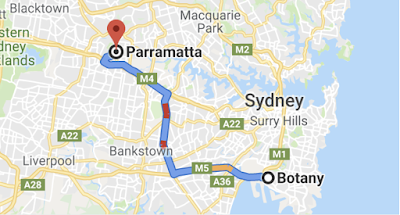 An image of Google Maps showing a journey from Botany to Parramatta