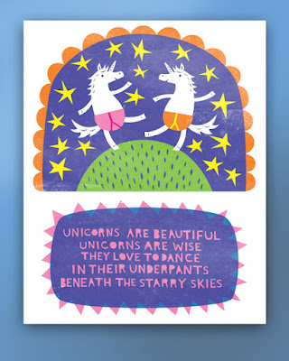 A picture of unicorns dancing in their underpants beneath the stars