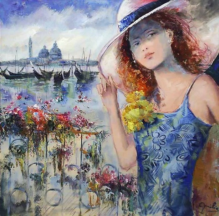 Romantic Venice painting by Lovilla Chantal