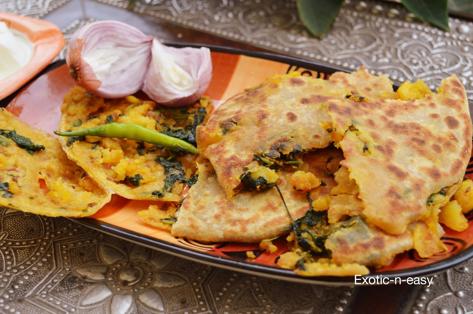 Exotic n easy cooking aloo palak parantha jodhpuri parantha normally kids avoid greens this gave me an opportunity to make them eat palak so enjoy this simple easy and exotic dish forumfinder Image collections