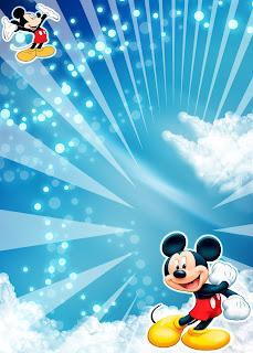 Tarjeta de Invitación de Mickey Mouse Azul