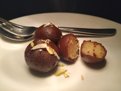 Pieces of Kala Jamun in a serving plate