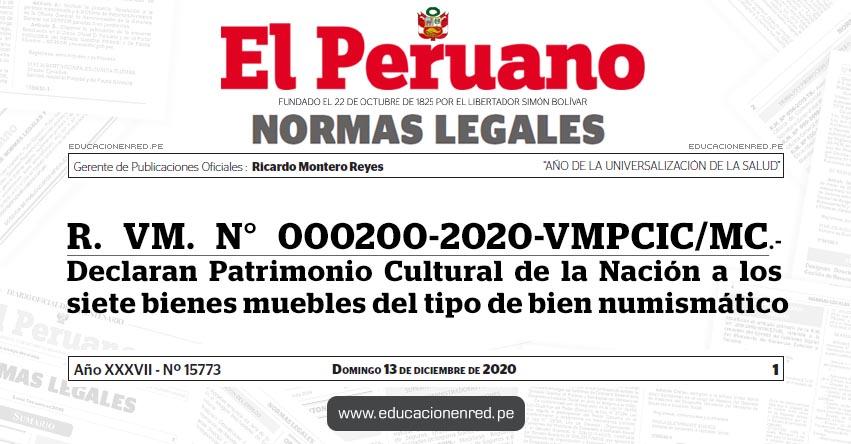 R. VM. N° 000200-2020-VMPCIC/MC.- Declaran Patrimonio Cultural de la Nación a los siete bienes muebles del tipo de bien numismático