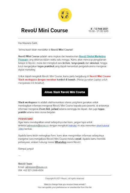 Email konfirmasi pendaftaran RevoU Mini Course
