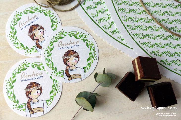 primera comunion etiquetas personalizadas niña