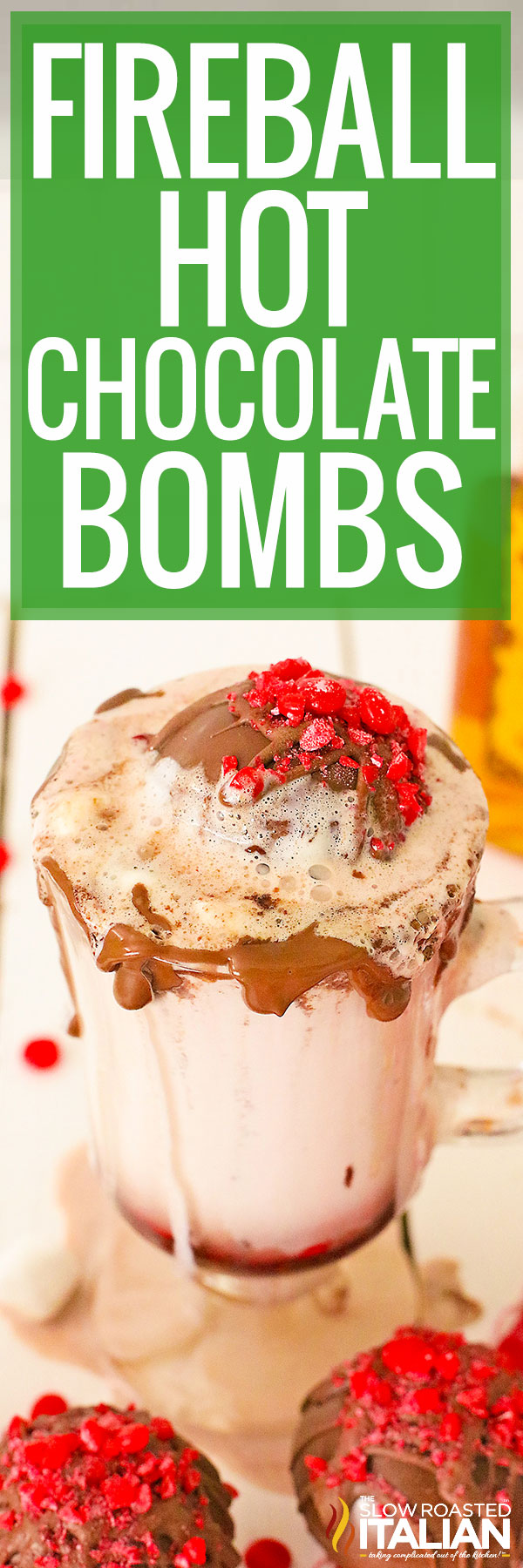 Hot Chocolate Bombs in a glass of hot milk