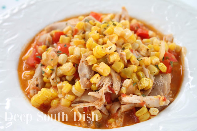 Corn and tomatoes, onion, bell pepper, garlic and jalapenos, make a fabulous popular Deep South dish all on it's own, but add in a little chicken, serve over rice and you've got a great main dish stew.