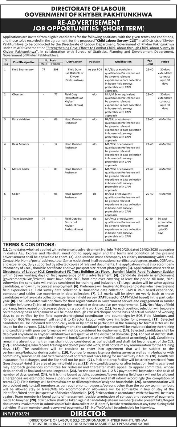 Directorate of Labour Jobs 2021 - KPK Jobs 2021 - Latest Govt Jobs 2021 - Jobs For Male and Female in Pakistan 2021