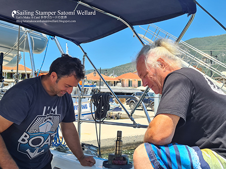 Life on Sailing Boat SATOMI at Nidri on Levkas Island in Greece  by Sailing Stamper Satomi Wellardギリシアでの船上生活レポレフカス島ニジュリの町から