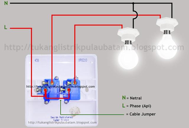 Diagram gambar cara memasang saklar ganda (Double Switch)