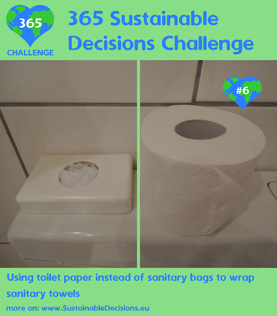 Using toilet paper instead of sanitary bag to wrap sanitary towels reducing plastic waste
