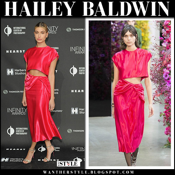 Hailey Baldwin in red crop top and red midi skirt jason wu red carpet fashion april 9