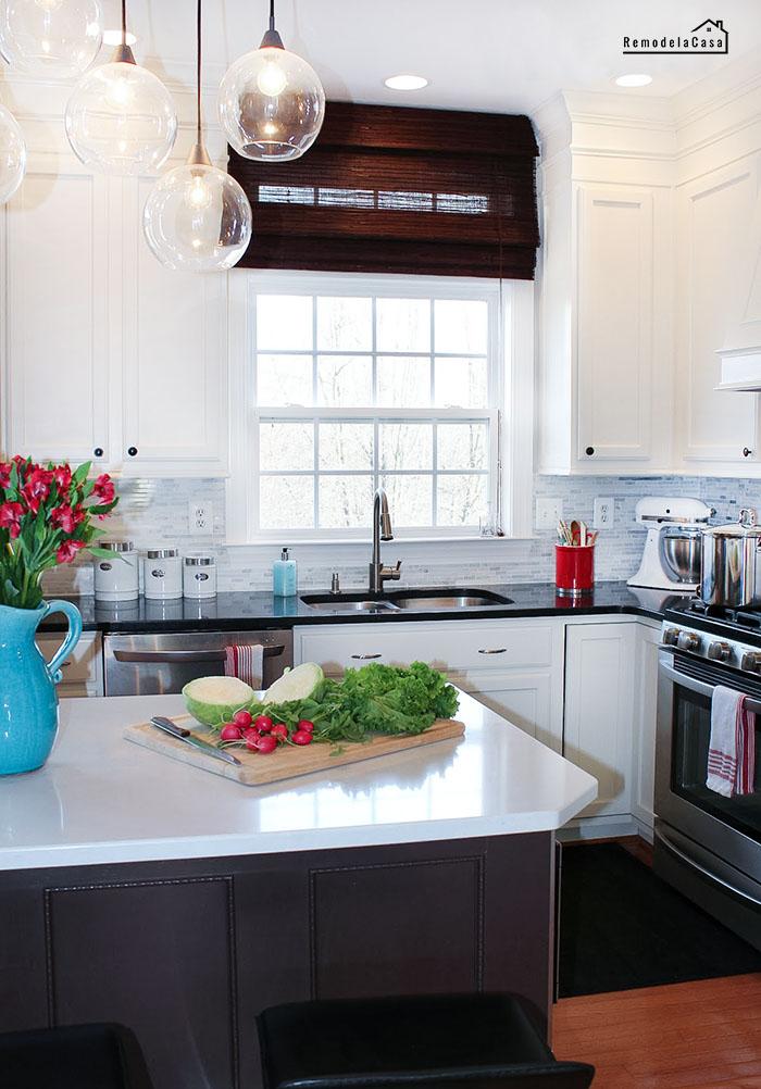 kitchen makeover with quartz countertops, BM Aura paint, LG appliances.