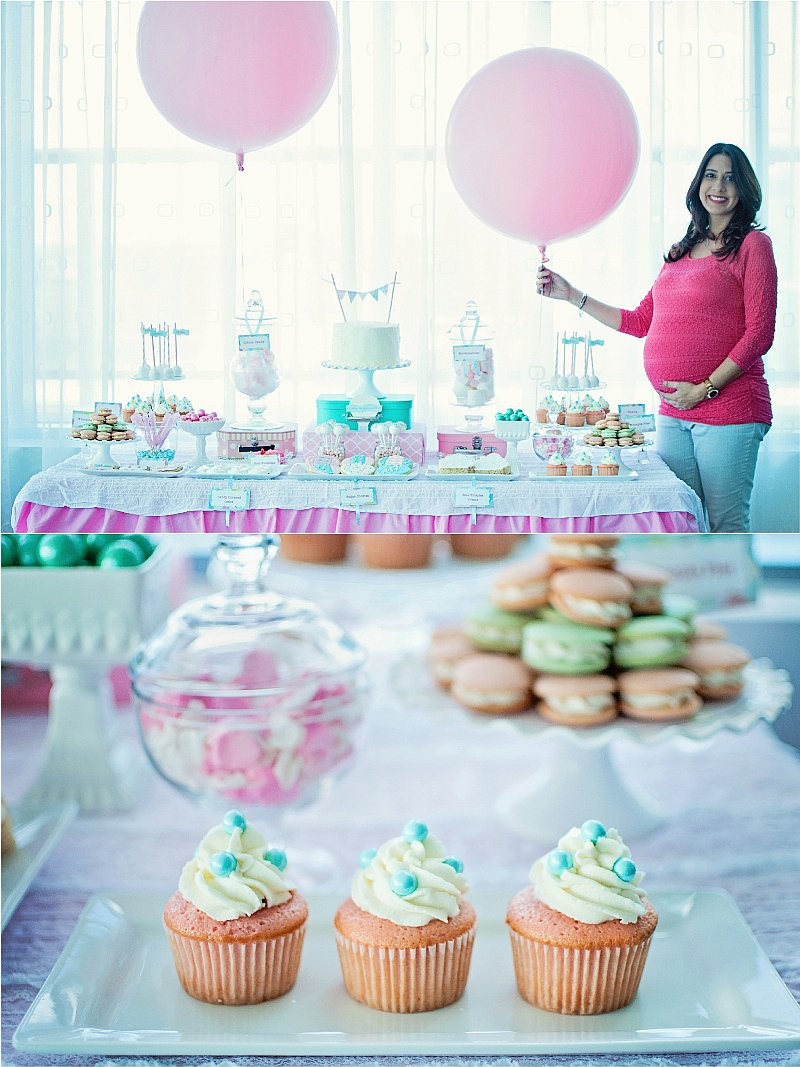 A Balloon Themed Baby Shower - gorgeous pink and teal party ideas with desserts, DIY decorations and party favors to celebrate mommy and baby! via BirdsParty.com @birdsparty #babyshower #hotairballoonparty #partyideas #babyparty #balloonparty #balloonbabyshower #pinktealparty