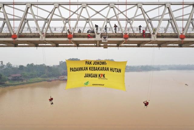Greenpeace: Pak Jokowi, Padamkan Kebakaran Hutan Jangan KPK