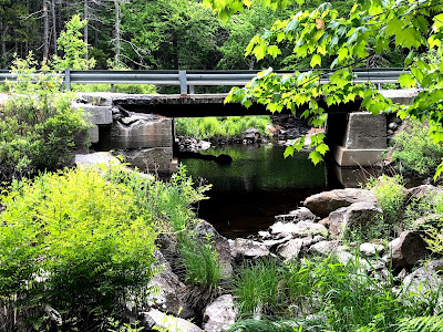 Picture of a large pool where a creek crosses under a bridge.