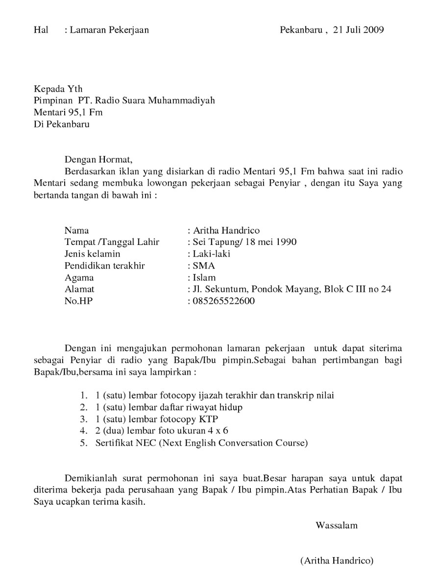 Contoh Surat Lamaran Kerja Kurir Lazada Download Contoh Lengkap Gratis