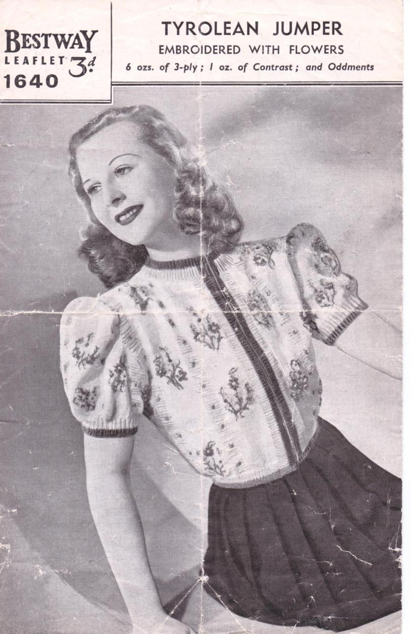 The Vintage Pattern Files: 1940s Knitting - Tyrolean Jumper Embroidered with ...