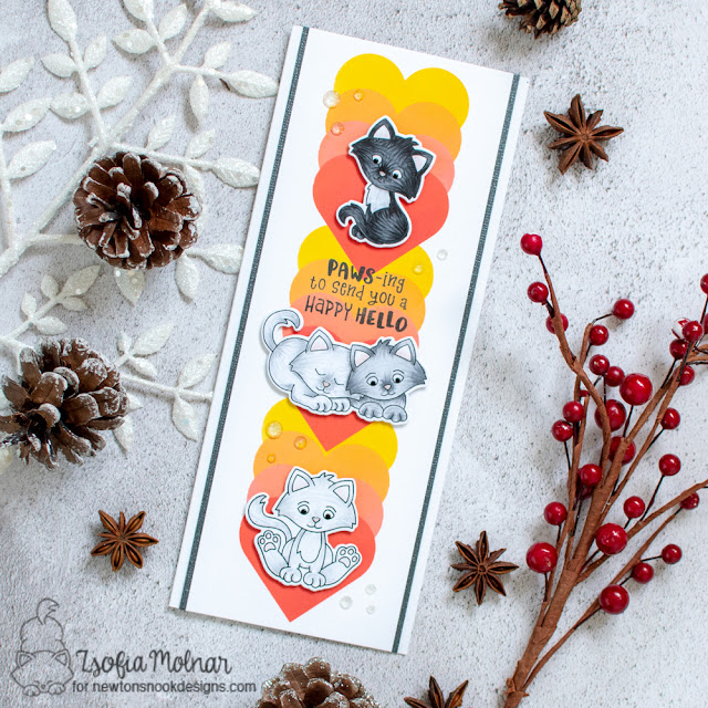 Kitten Slimline card by Zsofia Molnar | Smitten Kittens Stamp Set and Slimline Masking Hearts Stencil Set by Newton's Nook Design