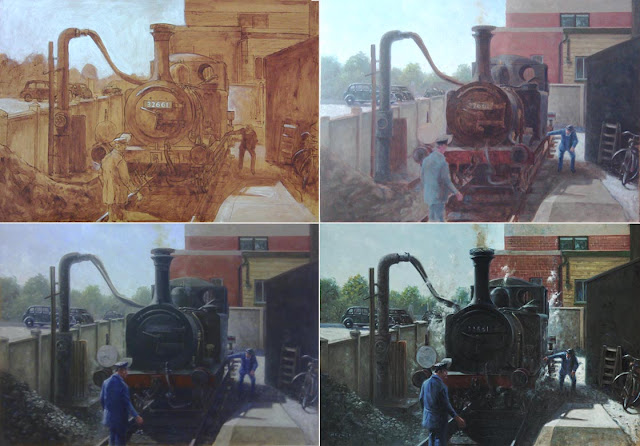 oil painting stages railroad tank engine Martin davey