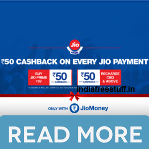 Jio Rs. 50 off on Rs. 303 Coupon on Rs. 99 Recharge @ Jio with JioMoney