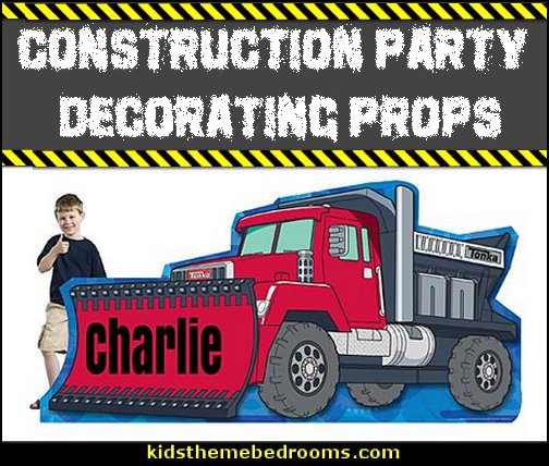 CONSTRUCTION PARTY DECORATING PROPS construction trucks party props decorating under construction party