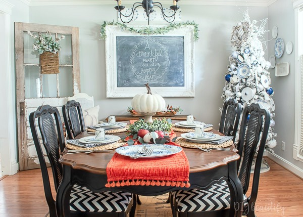 dining room set for Thanksgiving