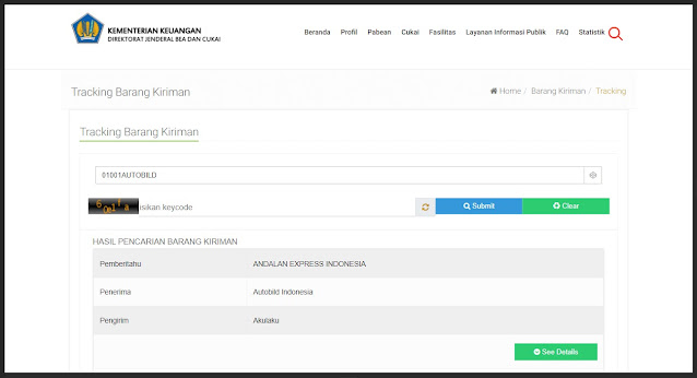 lacak barang kiriman di situs bea cukai