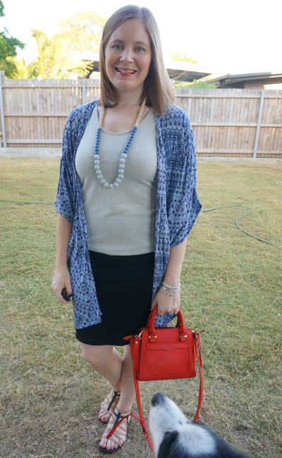 pencil skirt for night out outfit with navy printed kimono little red rebecca minkoff micro avery tote bag | away from blue