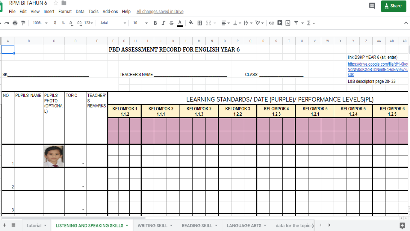 Madam Syuhada S Blog For Su Pbs And Pbd English Lesson Pupils Assessment Record English Year 1 2 3 4 Kssr Semakan Year 5 6 Kssr
