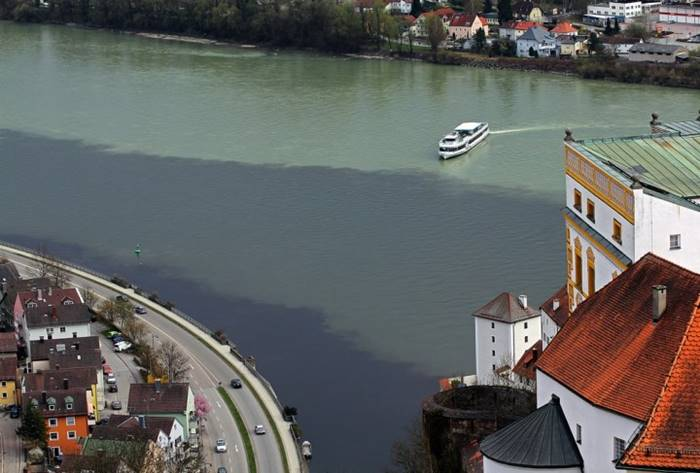 The confluence of the three rivers - The Danube, Iltsa and Inna (Germany)