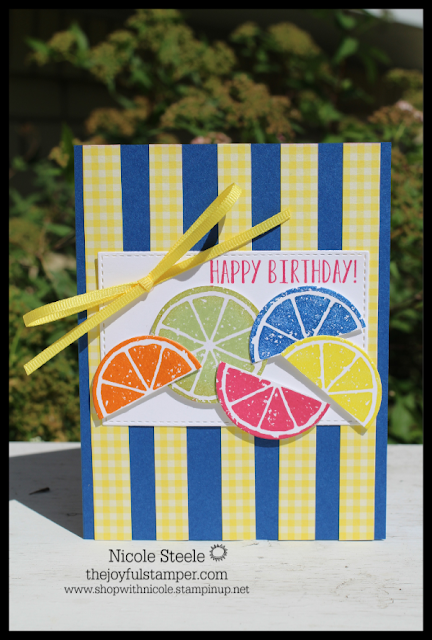 birthday card made with Stampin' Up!'s Lemon Zest inspired by Sunset Slush cup