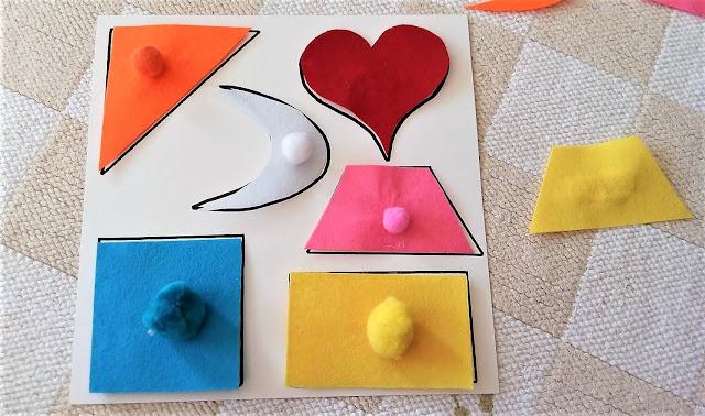 zabawki diy dla dzieci, filcowe kształty, ukladanka lewopolkulowa