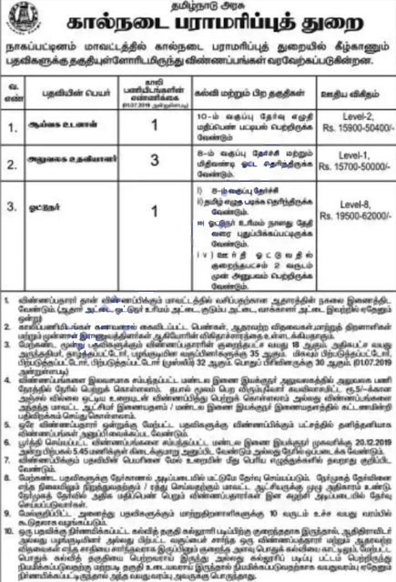 Nagapattinam AHD Recruitment 2019 for Lab Attender, Office Assistant, Driver
