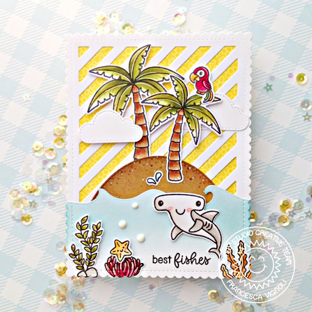 Sunny Studio Stamps: Frilly Frames Stripes Dies Catch A Wave Dies Sending Sunshine Slice Of Summer Summer Themed Cards by Franci Vignoli and Mona Toth