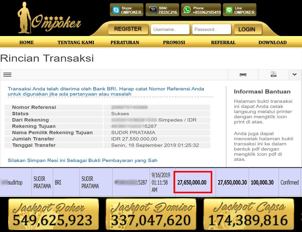 Selamat Kepada Member Setia Ompoker WD Rp 27.550.000