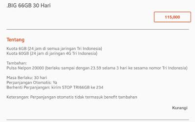 PAKET PROMO DATA INTERNET TERBAIK TRI (Bima+) Bulan ini 66 GB
