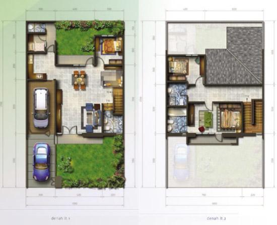 Denah rumah minimalis ukuran 10x17 meter 4 kamar tidur 2 lantai