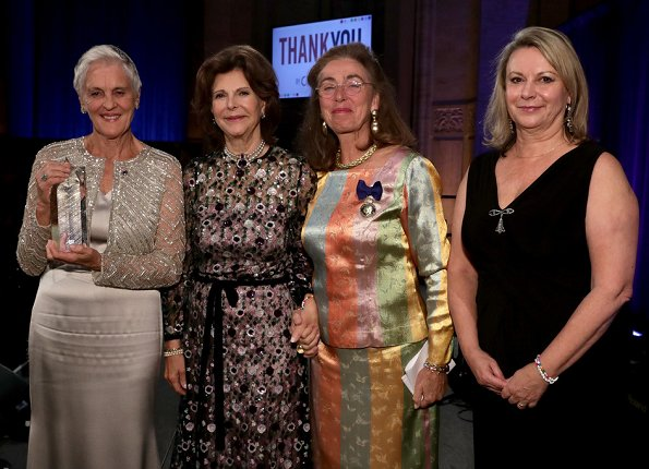 Monika Heimbold, Gunilla von Arbin, Joanna Rubinstein. Princess Madeleine wore a black gown Valentino for Childhood Gala