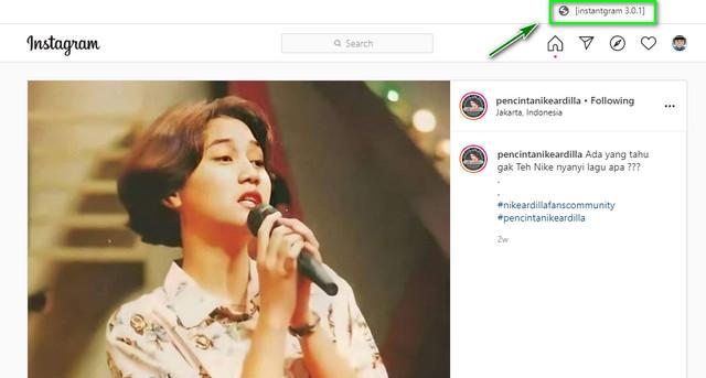 Halaman Salah Satu Postingan Instagram