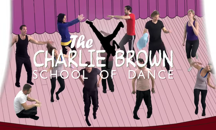 A bunch of people in crazy dance poses against cartoon stage backdrop with text 'The Charlie Brown School of Dance'