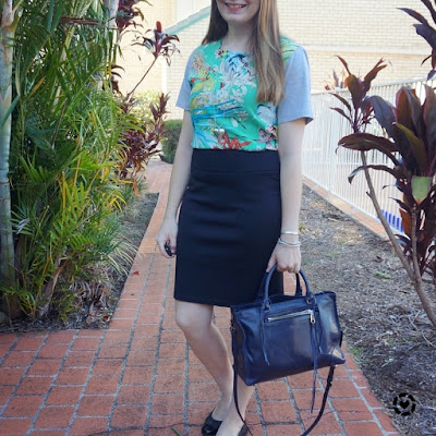 awayfromblue instagram botanical print tee dress made office appropriate with pencil skirt layered over