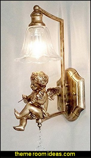 gold angel wall light  mythology theme bedrooms - greek theme room - roman theme rooms - angelic heavenly realm theme decorating ideas - Greek Mythology Decorations -  angel wall lights - angel wings decor - angel theme bedroom ideas - greek mythology decorating ideas - Ancient Greek Corinthian Column - Angel themed baby room - angel decor - cloud murals - heaven murals - angel murals